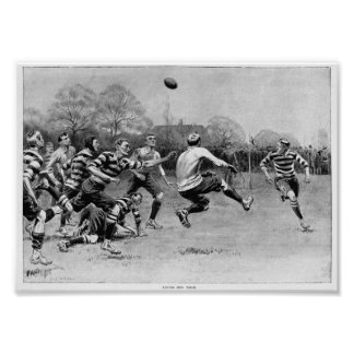 Punted Into Touch - Vintage Rugby Print