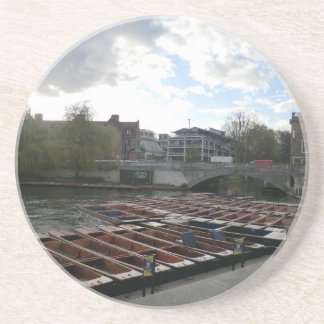 Punts on the River Cam in Cambridge Beverage Coasters
