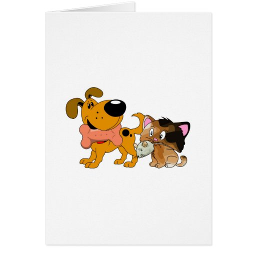 Pup and Kitty with Favorite Treat Greeting Cards