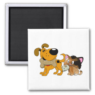 Pup and Kitty with Favorite Treat Square Magnet