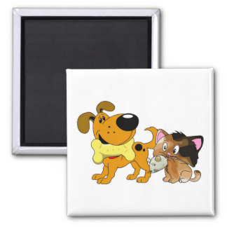 Pup and Kitty with Favorite Treat Refrigerator Magnets