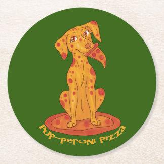 Pup-peroni Pizza Round Paper Coaster