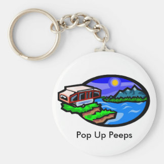 pup, Pop Up Peeps Basic Round Button Key Ring