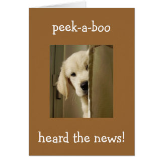 "PUP SAYS ""PEEK-A-BOO"" ADOPTION CONGRATULATIONS CARD"