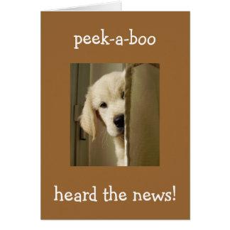 "PUP SAYS ""PEEK-A-BOO"" ADOPTION CONGRATULATIONS GREETING CARD"