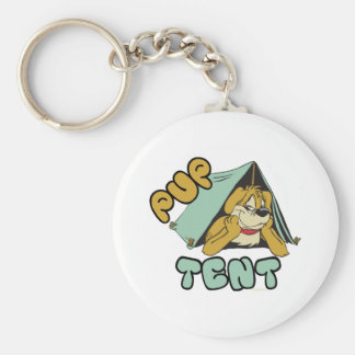 Pup Tent Camping Basic Round Button Key Ring
