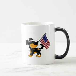 Pup with Flag 11 Oz Magic Heat Color-Changing Coffee Mug