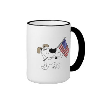 Pup with Flag Ringer Mug