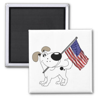Pup with Flag Square Magnet