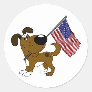 Pup with Flag Round Sticker