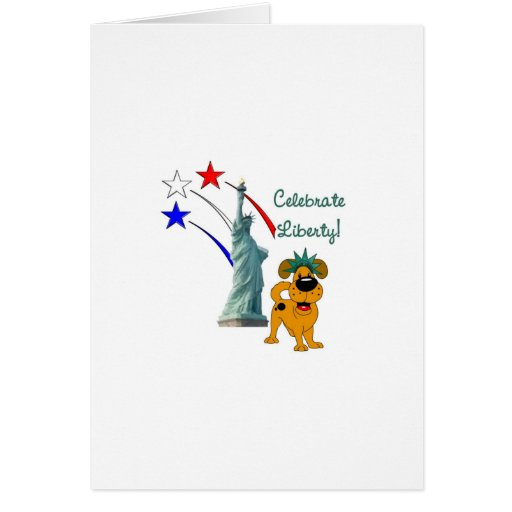 Pup with Lady Liberty and Fireworks Cards