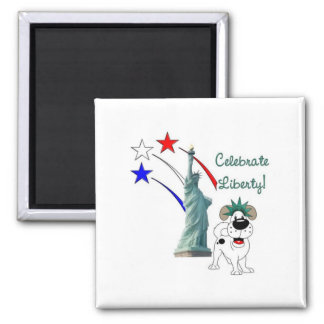 Pup with Lady Liberty and Fireworks Refrigerator Magnet