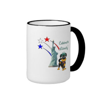 Pup with Lady Liberty and Fireworks Mugs