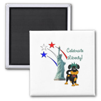 Pup with Lady Liberty and Fireworks Square Magnet