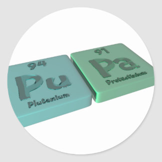 Pupa as Pu Plutonium and Pa Protactinium Round Sticker