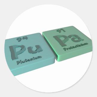 Pupa as Pu Plutonium and Pa Protactinium Round Sticker