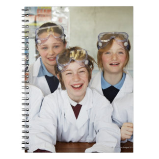 Pupils (9-12) in science class, smiling, note book