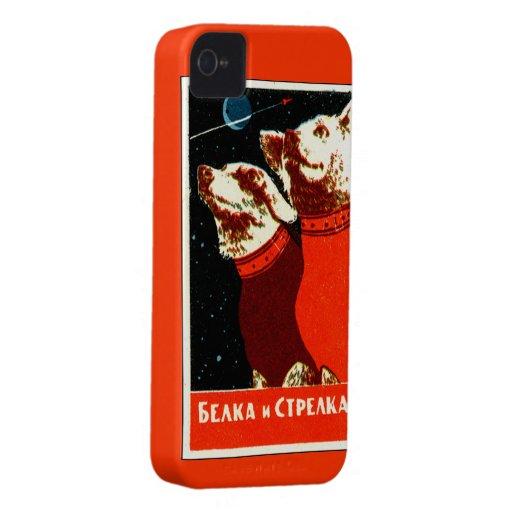 Pupniks Belka & Strelka Soviet Space Dogs iphone4 Case-Mate iPhone 4 Cases