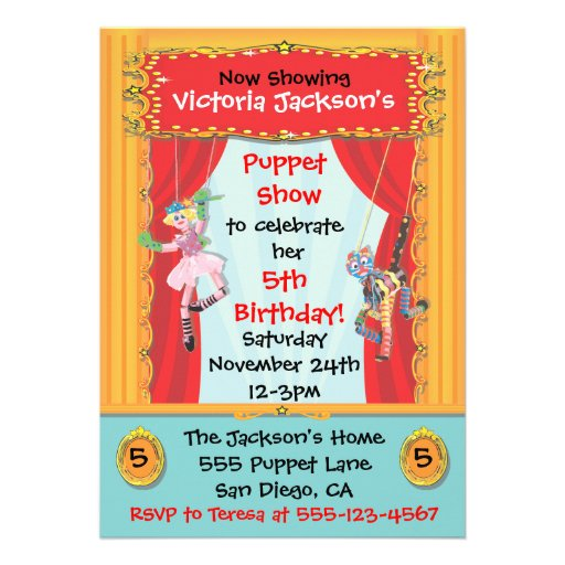 Puppet Show Party Invitation