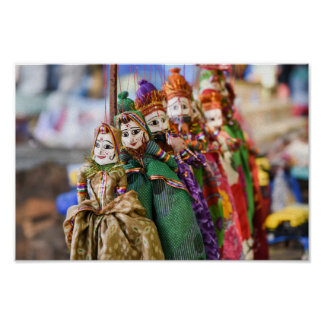 Puppets dolls on string from Rajasthan India Poster