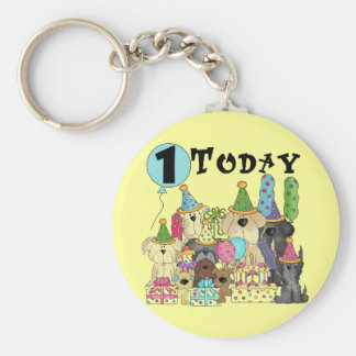 Puppies 1st Birthday Bash Tshirts and Gifts Basic Round Button Key Ring
