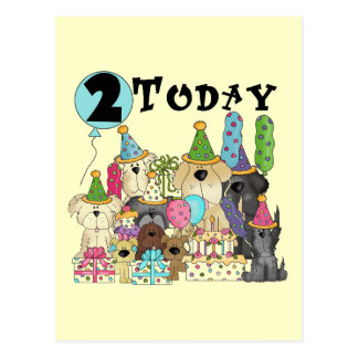Puppies 2nd Birthday Bash Tshirts and Gifts Postcard