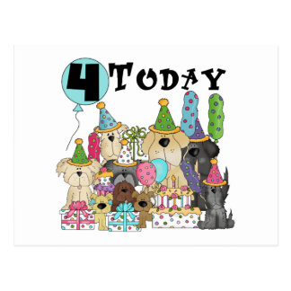 Puppies 4th Birthday Bash Tshirts and Gifts Postcard