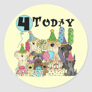 Puppies 4th Birthday Bash Tshirts and Gifts Classic Round Sticker