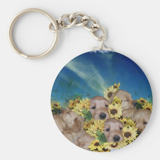 PUPPIES AND FLOWERS (GOLDEN RETRIEVERS) BASIC ROUND BUTTON KEY RING