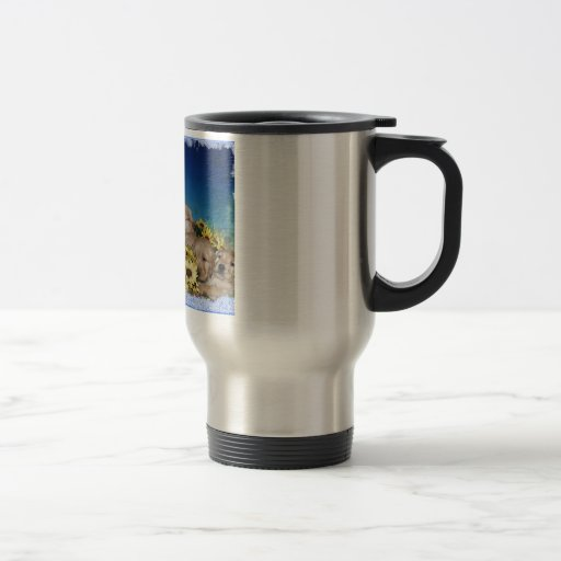PUPPIES AND FLOWERS (GOLDEN RETRIEVERS) 15 OZ STAINLESS STEEL TRAVEL MUG