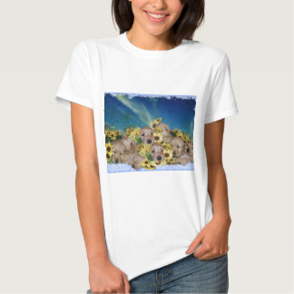 PUPPIES AND FLOWERS (GOLDEN RETRIEVERS) SHIRTS