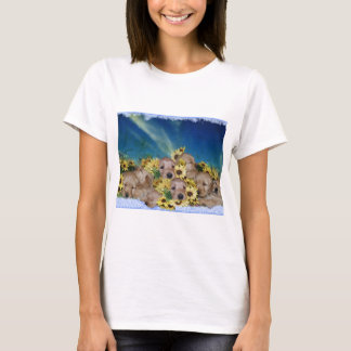 PUPPIES AND FLOWERS (GOLDEN RETRIEVERS) T-Shirt
