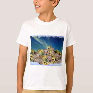 PUPPIES AND FLOWERS (GOLDEN RETRIEVERS) T-Shirt
