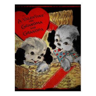 Puppies for Grandparents Valentine Postcard