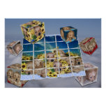 PUPPIES IN FLOWERS COLLAGE   FLOATING CUBES POSTER