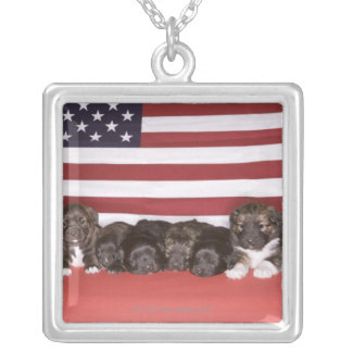 Puppies in front of an american flag silver plated necklace