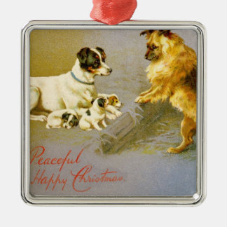 Puppies in the Straw, Victorian postcard Christmas Ornament