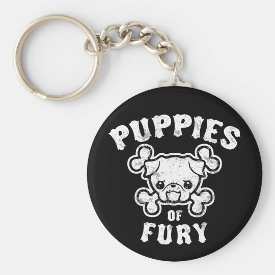 Puppies of Fury Basic Round Button Key Ring