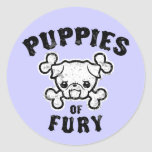 Puppies of Fury Round Stickers