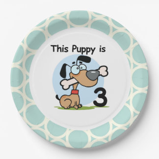 Puppy 3rd Birthday Paper Plates