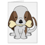 puppy and bone greeting card