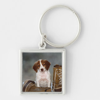 Puppy and Boots Silver-Colored Square Key Ring
