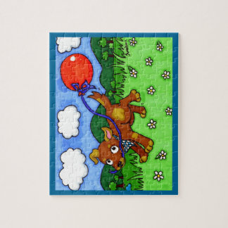 Puppy and his balloon in a park jigsaw puzzle