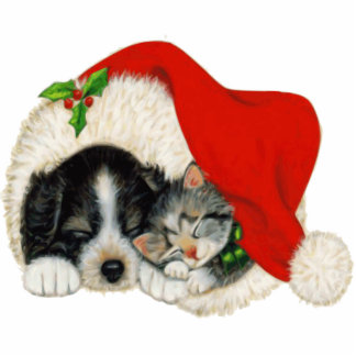 Puppy and Kitten Christmas Decoration Standing Photo Sculpture