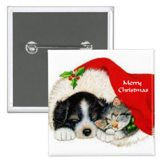 Puppy and Kitten Christmas Gifts Button