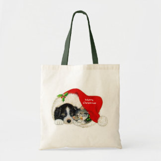 Puppy and Kitten Christmas Gifts Tote Budget Tote Bag