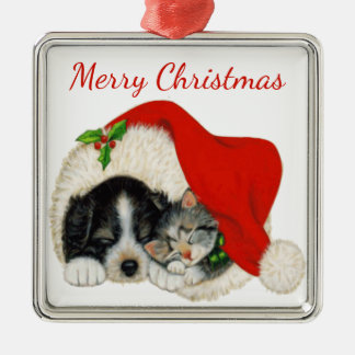 Puppy and Kitten Christmas Ornament
