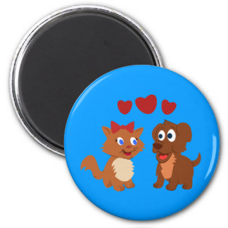 Puppy and Kitten fall in love Magnets