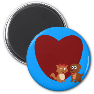 Puppy and Kitten fall in love Refrigerator Magnet