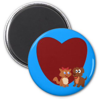 Puppy and Kitten fall in love Refrigerator Magnets